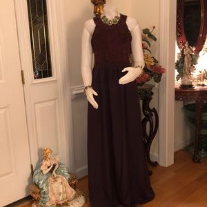 BRAND NEW ALLIK BURGUNDY SUEDE LATTICE LONG GOWN